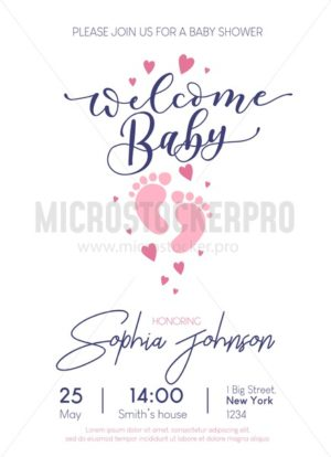 Welcome Baby cute illustration with lettering and baby footprints. Baby shower invitation design. Vector illustration - Vector illustrations for everyone | Microstocker.Pro