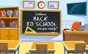 Welcome back to school poster with empty classroom. Cartoon school illustration. - Vector illustrations for everyone | Microstocker.Pro