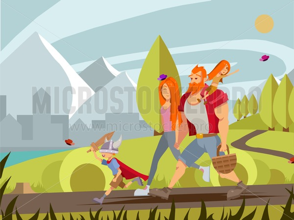 Young family with little boy and girl walking in park. Cartoon vector family walking outdoor with mountains and city background. Young mother, girl sitting on father's shoulder and little boy in viking's helmet and sword summer illustration. - Vector illustrations for everyone | Microstocker.Pro