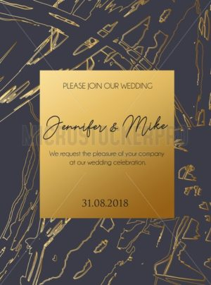 abstract invitation or greeting card template for wedding, engagement, anniversary etc. Elegant brush textured background with lettering and golden abstract design. Vector illustration. - Vector illustrations for everyone | Microstocker.Pro