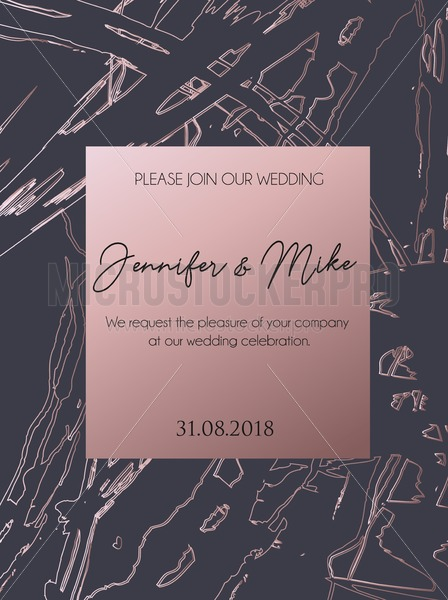 abstract invitation or greeting card template for wedding, engagement, anniversary etc. Elegant brush textured background with lettering and rose gold abstract design. Vector illustration. - Vector illustrations for everyone | Microstocker.Pro