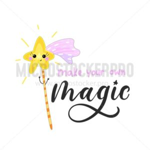 create your own magic inspirational card with doodles and lettering isolated on white background. Vector illustration - Vector illustrations for everyone | Microstocker.Pro