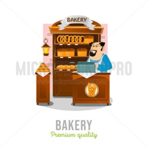 Bakery shop isolated on white background. Cartoon bakery market. Local business bakery vector illustration - Vector illustrations for everyone | Microstocker.Pro
