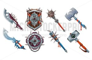 Big set of ancient weapon elements for games. Vector game set isolated on white background - Vector illustrations for everyone | Microstocker.Pro