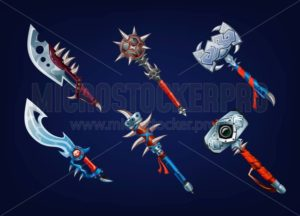 Big set of old weapon elements for games. Vector game supplies set - Vector illustrations for everyone | Microstocker.Pro
