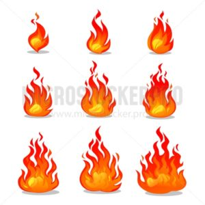 Cartoon fire animation design on white background. Vector fireplace illustration for animation, games etc. - Vector illustrations for everyone | Microstocker.Pro