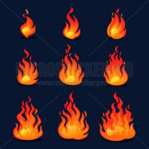 Cartoon fire animation design. Vector fireplace illustration for animation, games etc. - Vector illustrations for everyone | Microstocker.Pro