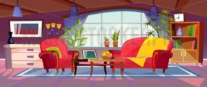 Cartoon living room interior view. Empty colorful room design with sofa, armchair, coffee table, bookshelves and plants. Vector illustration - Vector illustrations for everyone | Microstocker.Pro