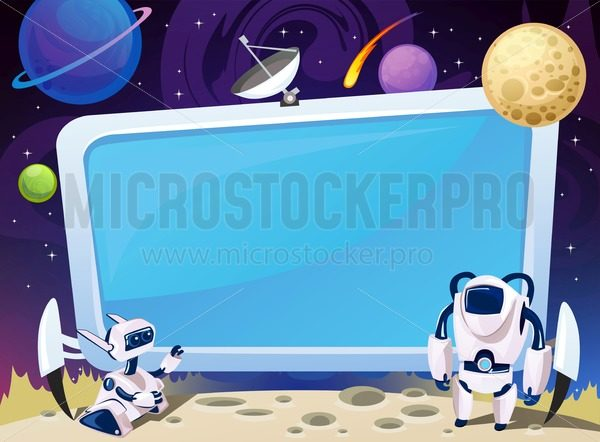 Cartoon space background with empty computer screen in the middle. Vector cosmic illustration for party, greeting card, invitation, certificates etc - Vector illustrations for everyone | Microstocker.Pro