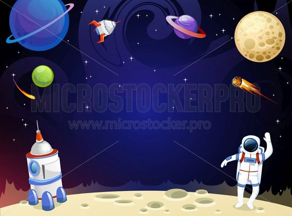 Cartoon space background with empty space in the middle. Vector cosmic illustration for party, greeting card, invitation, certificates etc - Vector illustrations for everyone | Microstocker.Pro
