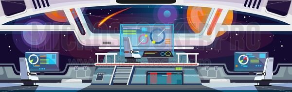 Cartoon spaceship interior design. Vector illustration - Vector illustrations for everyone | Microstocker.Pro