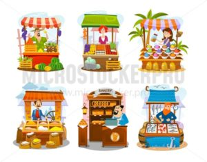 Cartoon street shops set. Fruits, vegetables, spices, grains, seafood and bakery markets. Vector local business illustration - Vector illustrations for everyone | Microstocker.Pro