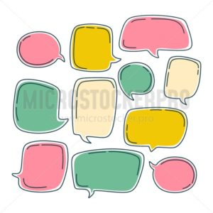 Colorful bubble speech set. Dialogue templates with different colors isolated on white background. - Vector illustrations for everyone | Microstocker.Pro