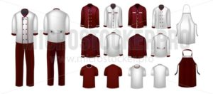 Culinary uniform set for restaurant or cafe with white and red wine colors. Elegance realistic restaurant uniform. Vector illustration - Vector illustrations for everyone | Microstocker.Pro