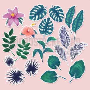 Cute tropical stickers and labels on blush pink background. Summer set of leaves and flowers. Vector illustration - Vector illustrations for everyone | Microstocker.Pro