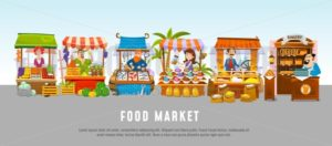 Food market cartoon banner concept. Local business vector illustration - Vector illustrations for everyone | Microstocker.Pro