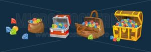 Gems chests set on blue background. Cartoon money chests for games, books etc. Vector illustration - Vector illustrations for everyone | Microstocker.Pro