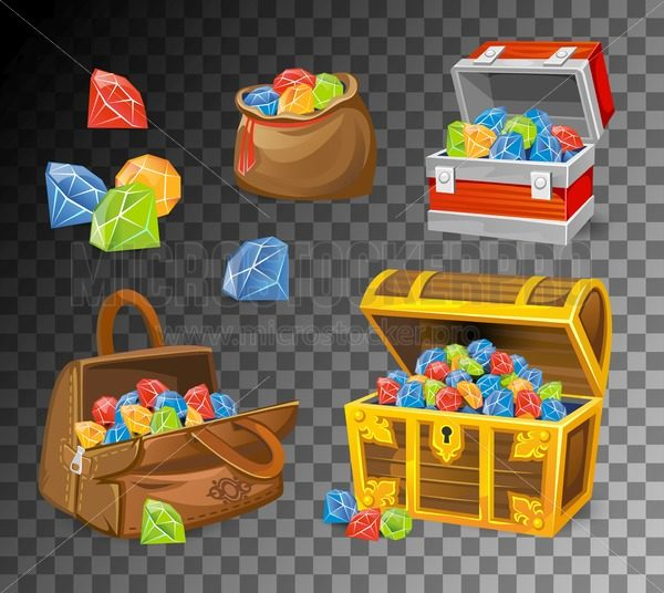 Gemstone and crystal chests set on transparent background. Cartoon money chests for games, books etc. Vector illustration - Vector illustrations for everyone | Microstocker.Pro