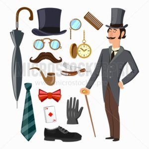 Gentleman's supply set. Hat, umbrella, gentleman, tie, glove, man etc. Vector cartoon illustration - Vector illustrations for everyone | Microstocker.Pro