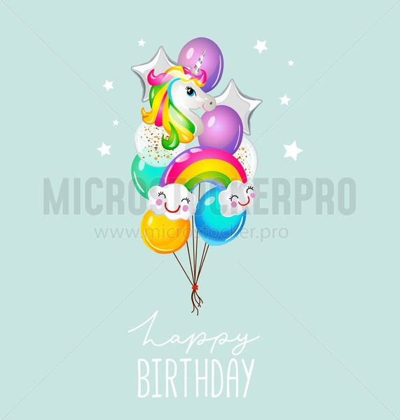 Happy Birthday greeting card with balloons on blue background. Cute unicorn and rainbow balloons card for invitation or print. Vector illustration - Vector illustrations for everyone | Microstocker.Pro