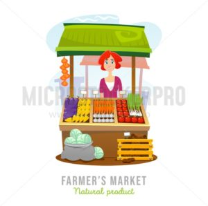 Local food market cartoon vector illustration. Fruits and vegetables shop. Vector illustration - Vector illustrations for everyone | Microstocker.Pro