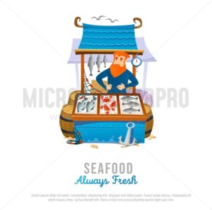 Seafood market store in cartoon style. Vector illustration - Vector illustrations for everyone | Microstocker.Pro