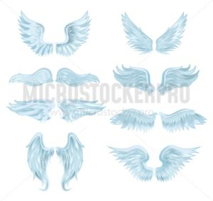 Set of angel wings isolated on white background. Vector illustration - Vector illustrations for everyone | Microstocker.Pro