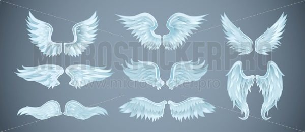Set of angel wings with different shapes. Vector illustration - Vector illustrations for everyone | Microstocker.Pro