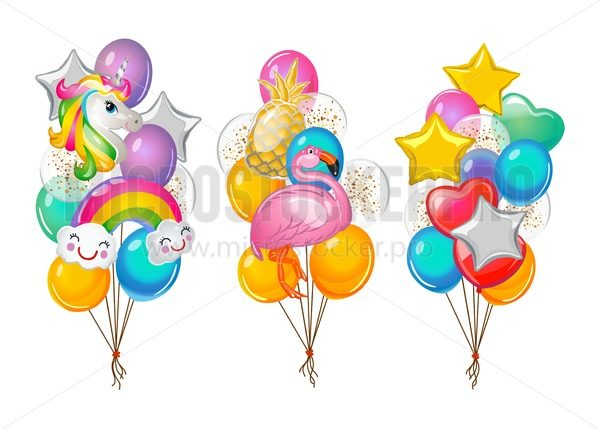 Set of cartoon balloons bunches isolated on white background. Flamingo, unicorn, rainbow and pineapple balloons. Vector illustration - Vector illustrations for everyone | Microstocker.Pro
