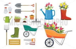 Set of colorful spring elements and decorations for garden. Vector spring cartoon set - Vector illustrations for everyone | Microstocker.Pro