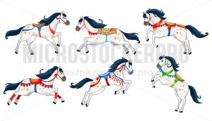 Set of cute cartoon horses isolated on white background. Running white vector horses for carousel, invitations, cards, posters etc. - Vector illustrations for everyone | Microstocker.Pro