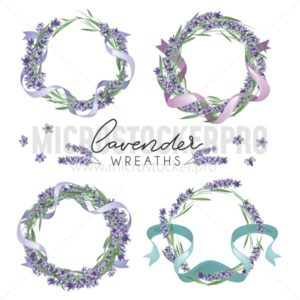 Set of cute lavender wreaths. Provence style floral design. Vector lavender flowers isolated on white background - Vector illustrations for everyone | Microstocker.Pro