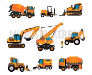 Set of different building equipment on white background. Concrete mixer, wheel loaders, excavator, bulldozer, front loader, backhoe loader. - Vector illustrations for everyone | Microstocker.Pro