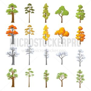 Set of different trees with seasonal design. Cartoon trees in snow and leaves isolated on white background. Vector illustration - Vector illustrations for everyone | Microstocker.Pro