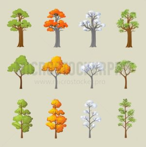 Set of different trees with seasonal design. Cartoon trees in snow and leaves. Vector illustration - Vector illustrations for everyone | Microstocker.Pro