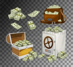 Set of money banknotes for games, posters, banners etc. Game money on transparent background. Chest, bag and safe full of bacnknotes - Vector illustrations for everyone | Microstocker.Pro