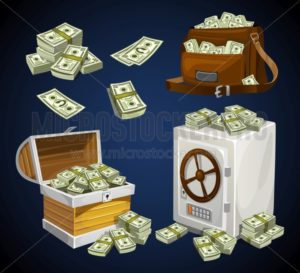 Set of money banknotes for games, posters, banners etc. Game money. Chest, bag and safe full of bacnknotes - Vector illustrations for everyone | Microstocker.Pro