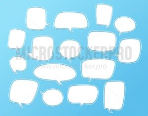Set of white bubble speech designs. Dialogue templates isolated on blue background. - Vector illustrations for everyone | Microstocker.Pro
