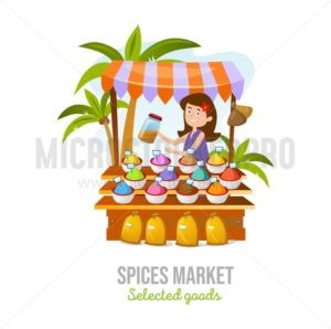 Spice market isolated on white background. Cartoon spice shop. Local business vector illustration - Vector illustrations for everyone | Microstocker.Pro