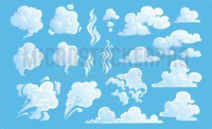 Steam clouds set. White cartoon sky and steam clouds on blue background. Vector illustration - Vector illustrations for everyone | Microstocker.Pro