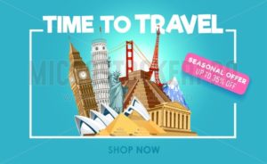 Travel promo banner with discount. Time to travel inspirational promo poster. Vector illustration - Vector illustrations for everyone | Microstocker.Pro