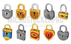 Vector lock set isolated on white background for security protection. Vector locking mechanism icons for web design, games, ui, etc. - Vector illustrations for everyone | Microstocker.Pro
