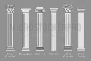 ПечатьAncient pillars set isolated on white background. Different architecture pillars with stone effect. Classical columns vector set. - Vector illustrations for everyone | Microstocker.Pro