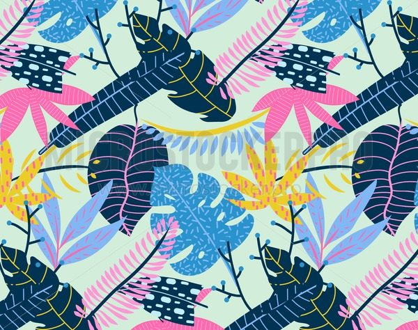 Abstract tropical summer background. Vector seamless tropical pattern. - Vector illustrations for everyone | Microstocker.Pro