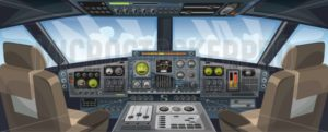 Airplane cockpit view with control panel buttons and sky background on window view. Airplane pilots cabin with dashboard control and pilots chair for games design. Airplane interface for UI, UX, GUI design. Vector illustration - Vector illustrations for everyone | Microstocker.Pro