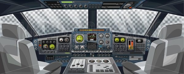 Airplane cockpit view with control panel buttons and transparent background on window view. Airplane pilots cabin with dashboard control and pilots chair for games design. Airplane interface for UI, UX, GUI design. Vector illustration - Vector illustrations for everyone | Microstocker.Pro
