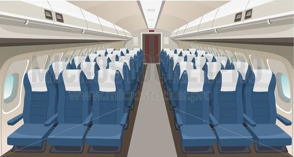 Airplane interior design. Passenger airplane seats, portholes and lights. Aircraft salon indoor interior. Airplane vector interior illustration - Vector illustrations for everyone | Microstocker.Pro