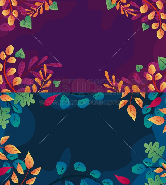 Autumn background set with leaves if flat style. Fall orange, green and red leaves illustration. Vector autumn illustration - Vector illustrations for everyone | Microstocker.Pro