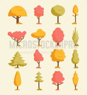 Autumn trees set. Orange fall trees and leaves.Colorful collection of autumn elements. Vector illustration - Vector illustrations for everyone | Microstocker.Pro