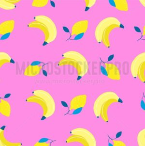 Bananas and lemons pattern in flat style. Sweet and colorful summer background. Vector illustration - Vector illustrations for everyone | Microstocker.Pro